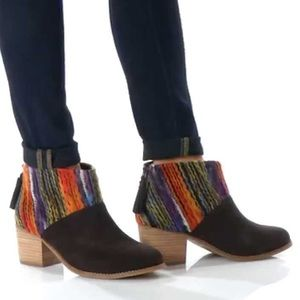 TOMS Chocolate Suede Textile Leila Booties - 8.5